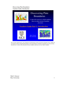 Introduction  - Discovering Plate Boundaries Home