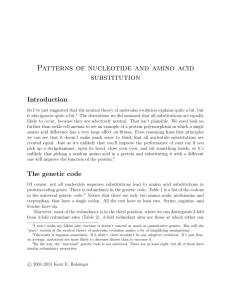 Patterns of nucleotide and amino acid substitution