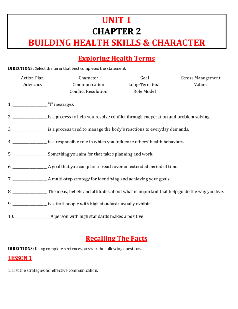 CHAPTER 2 UNIT 1 BUILDING HEALTH SKILLS & CHARACTER