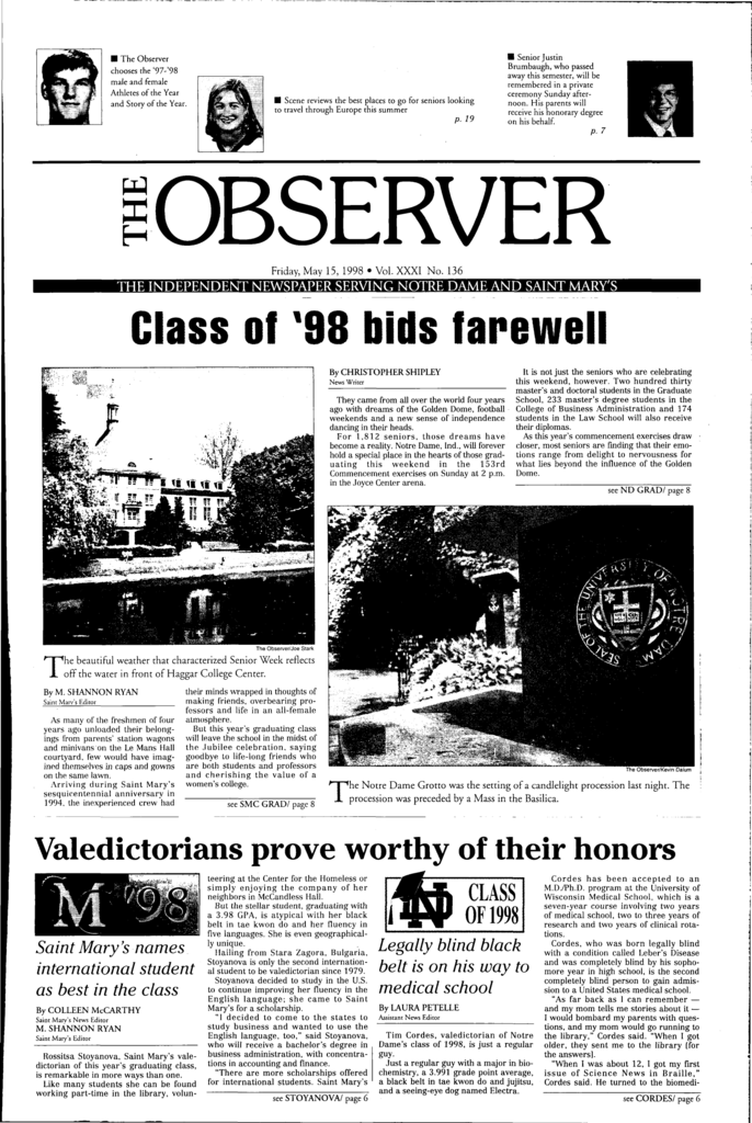 Class Of 98 Bids Farewell Archives Of The University Of Notre Dame