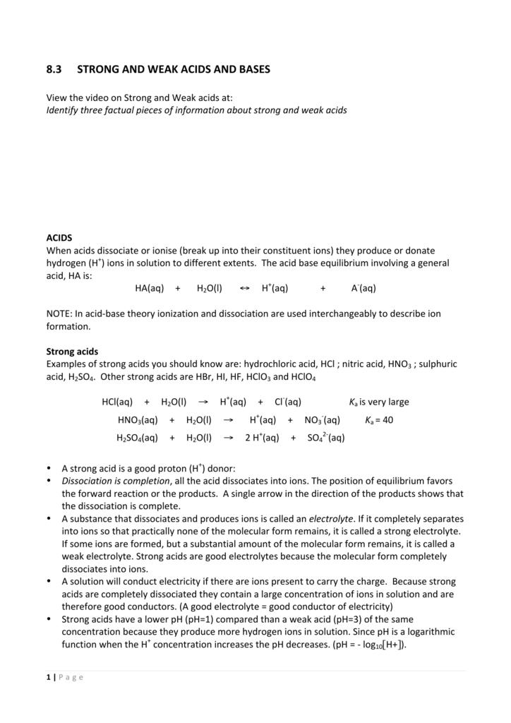acidic environment hsc notes pdf