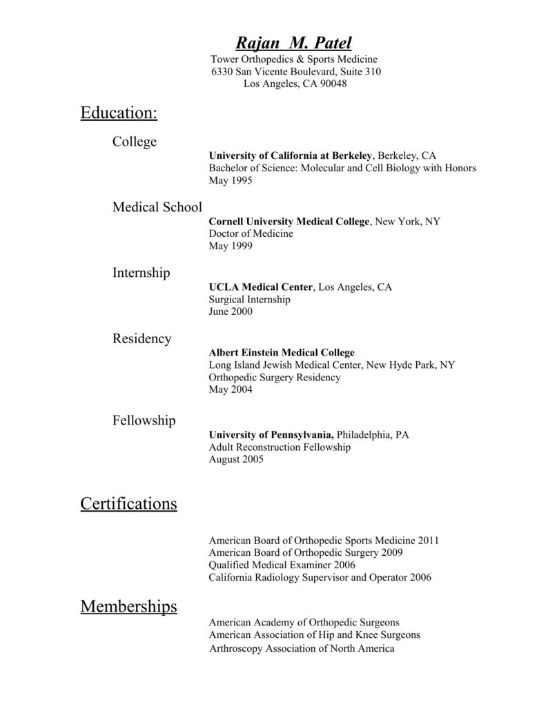 Curriculum Vitae - Tower Orthopaedics