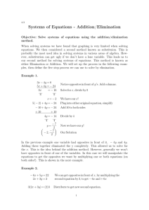Systems of Equations - Addition/Elimination