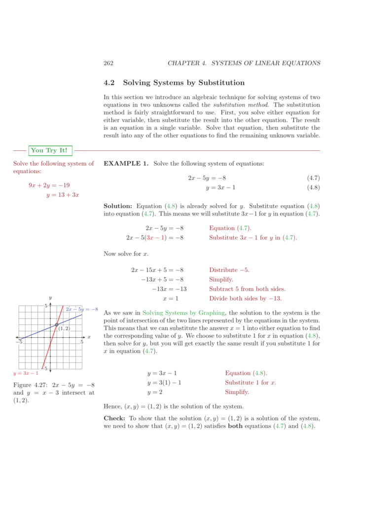 4 2 Solving Systems by Substitution