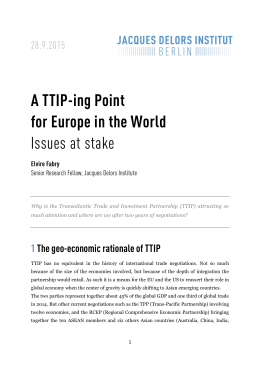 A TTIP-ing Point for Europe in the World Issues at stake
