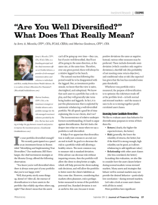 """Are You Well Diversified?"" What Does That Really Mean?"