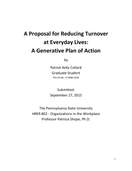 A Proposal for Reducing Turnover at Everyday Lives: A Generative
