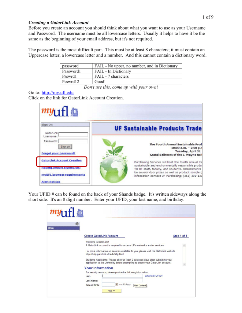 1 of 9 Creating a GatorLink Account Before you create an account