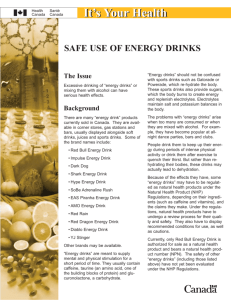Safe use of Energy Drinks