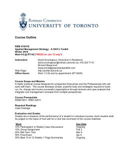 Course Outline - University of Toronto