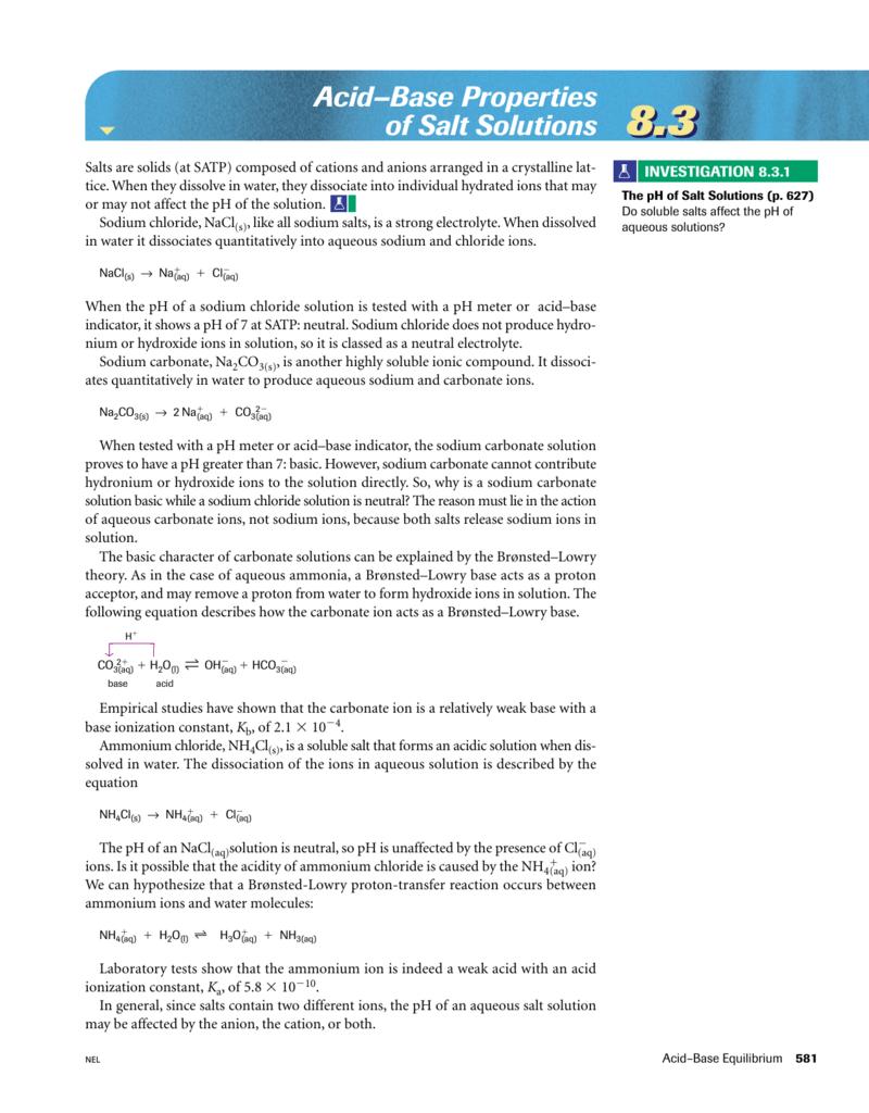 8 3 Acid- Base Properties of Salt Solutions
