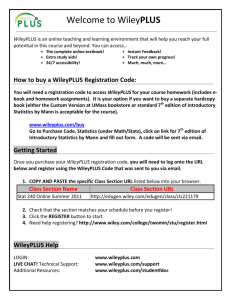 Welcome to WileyPLUS Registration Code Savings! Getting Started