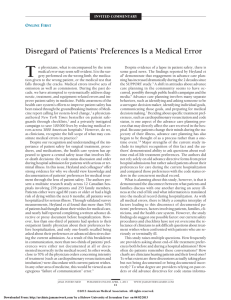 Disregard of Patients' Preferences Is a Medical Error