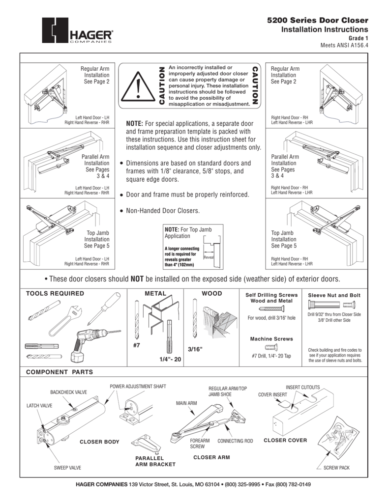 Door Closers Instructions Amp Dynasty Hardware 4000 Alum