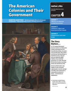 The American Colonies and Their Government