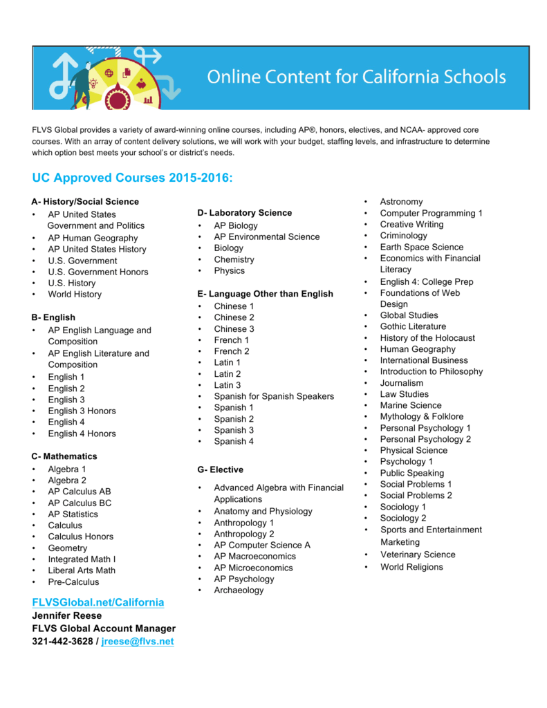 UC Approved Courses 2015-2016: