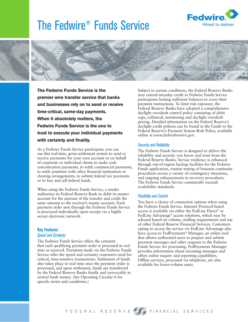 The Fedwire Funds Service Information Guide