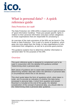 What is personal data? – A quick reference guide
