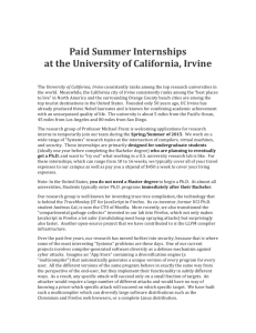 Paid Summer Internships at the University of California, Irvine