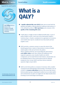 What is a QALY? - Medical Sciences Division, Oxford
