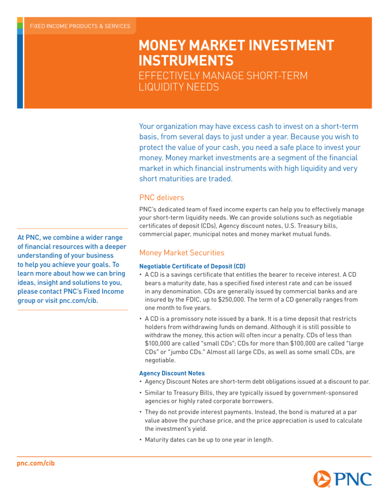 PNC: Money Market Investment Instruments