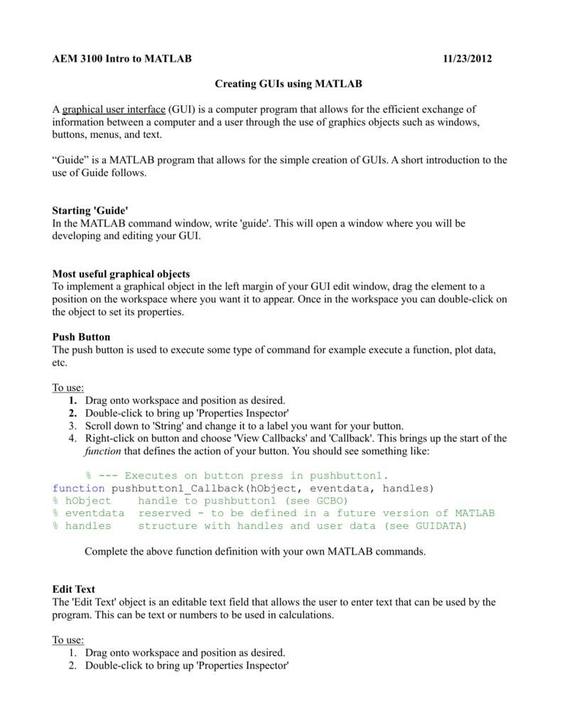 AEM 3100 Intro to MATLAB 11/23/2012 Creating GUIs using