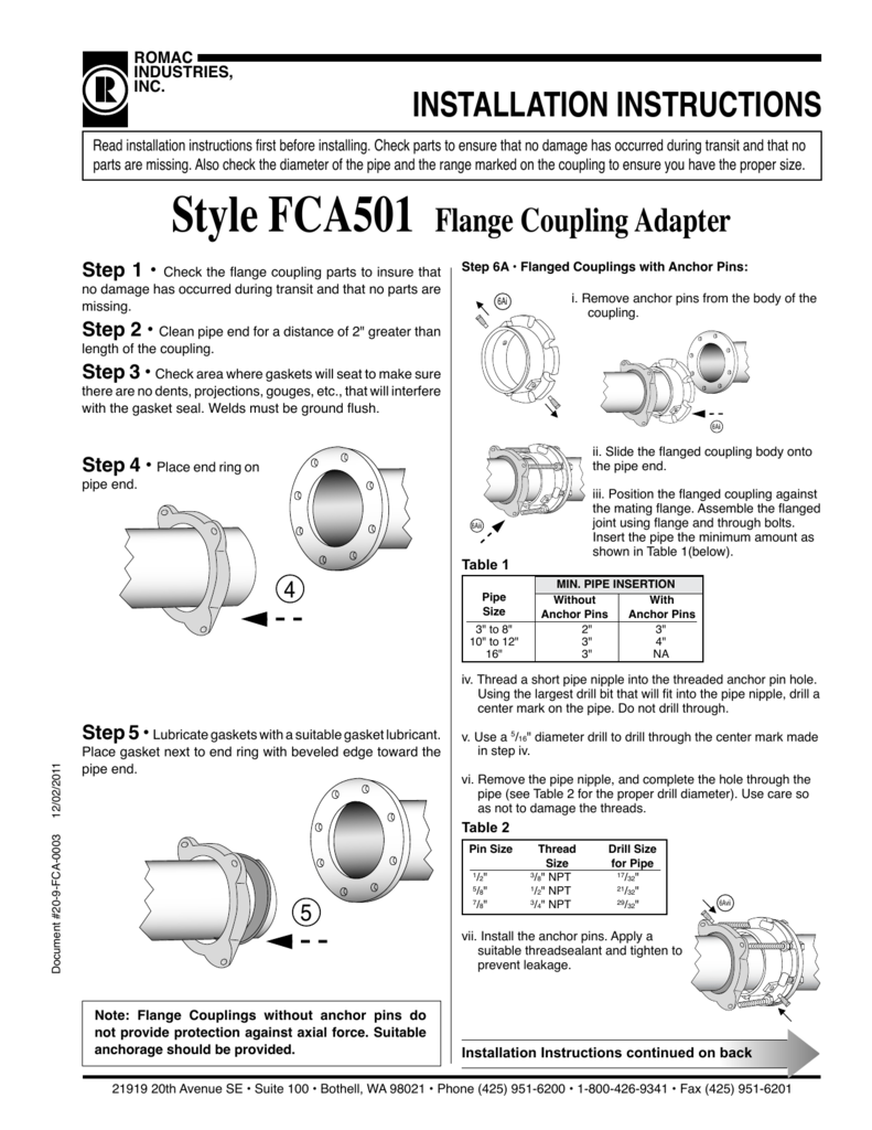 INSTALLATION INSTRUCTIONS Style FCA501 Flange Coupling
