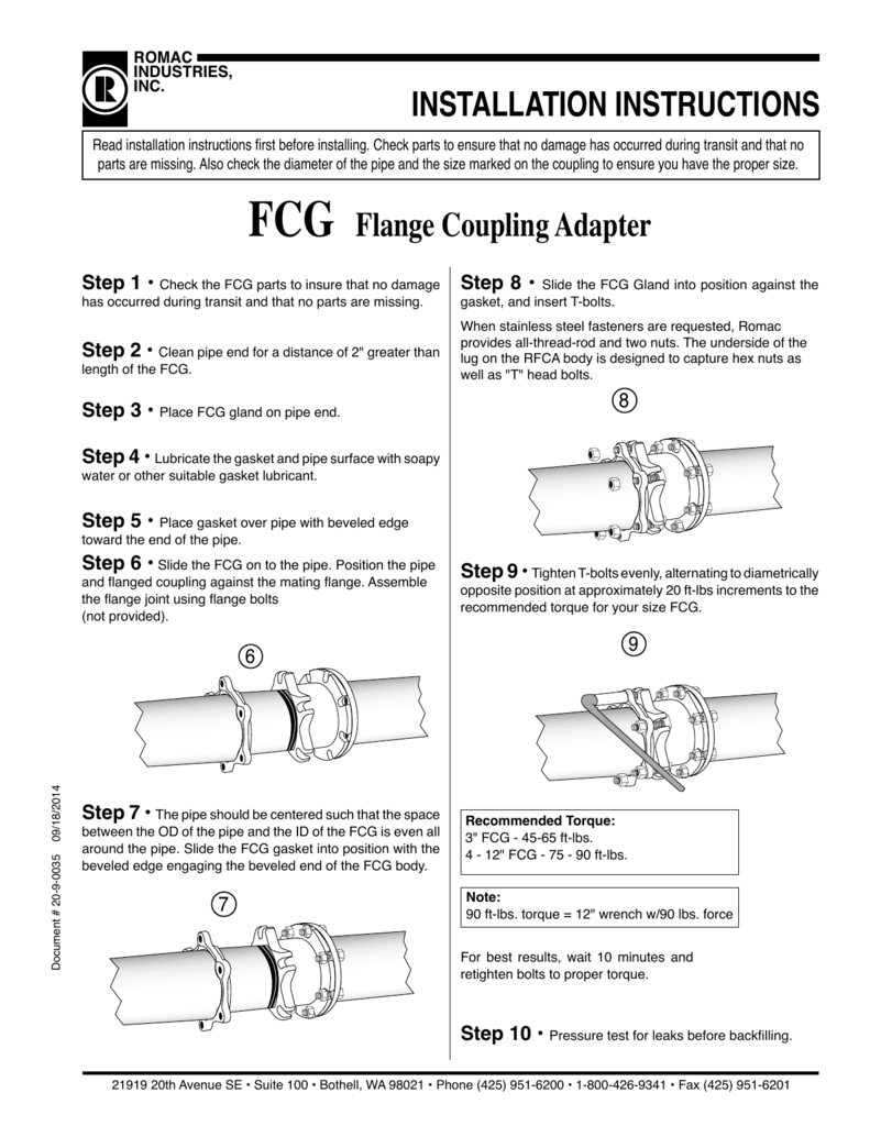 INSTALLATION INSTRUCTIONS FCG Flange Coupling Adapter
