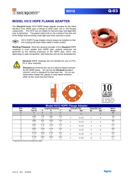 H312 MODEL H312 HDPE FLANGE ADAPTER