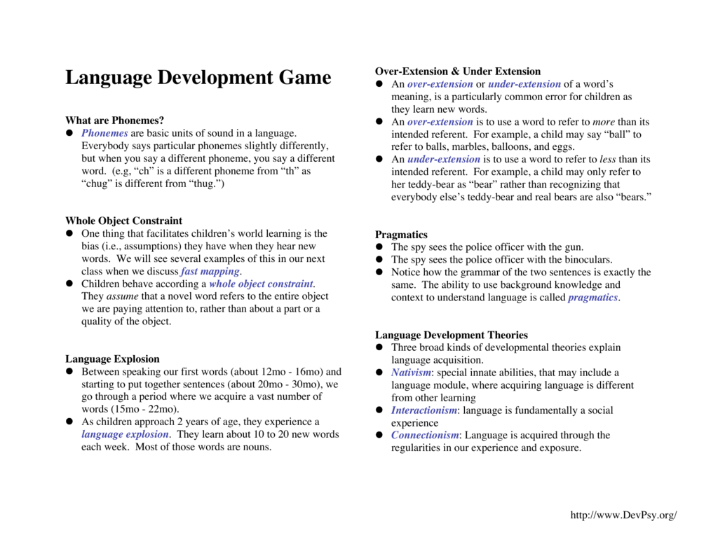 Language Game Notes As Handout For Students