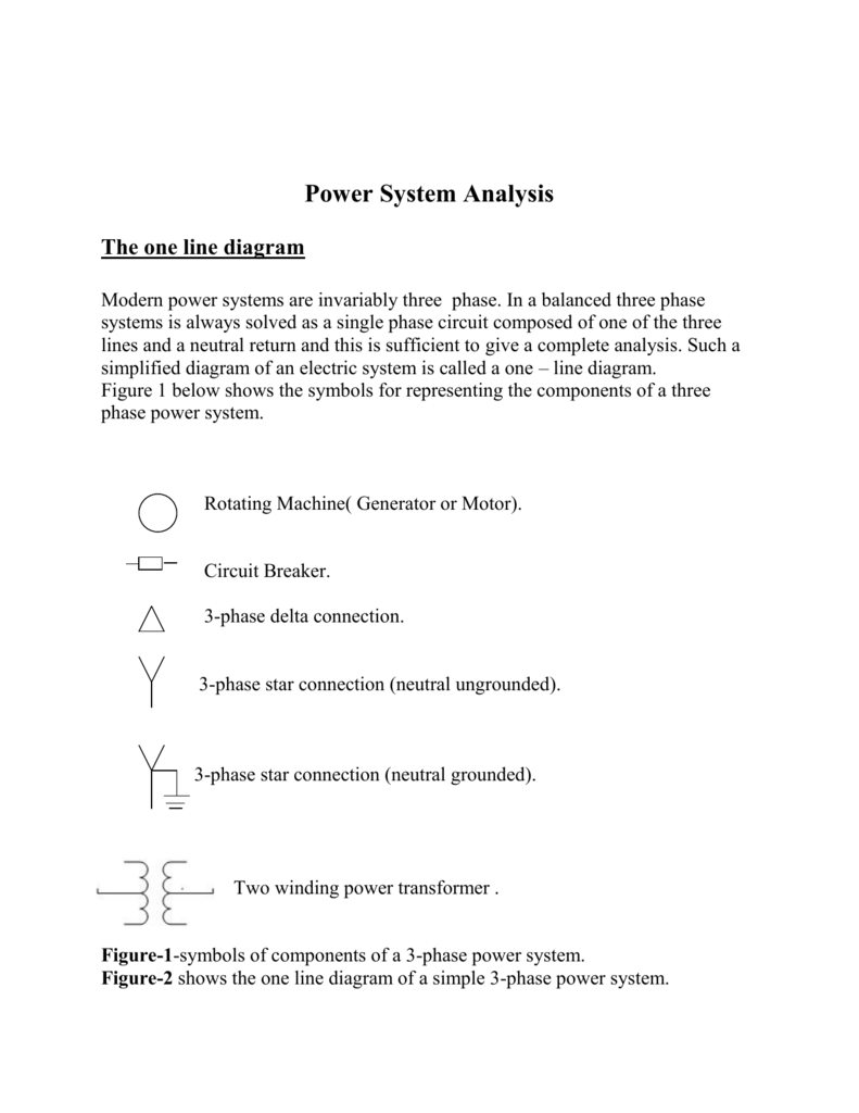 Power System Analysis The One Line Diagram 3 Phase Transformer Wiring Breaker