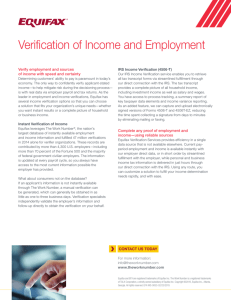 Verification of Income and Employment