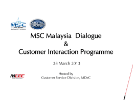 MSC Malaysia Dialogue & Customer Interaction Programme