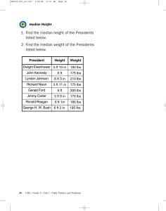 1. Find the median height of the Presidents listed below. 2. Find the
