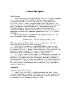 Empirical Formula Of A Hydrate Lab