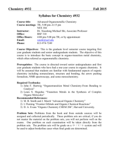 Chemistry 4932 Fall 2015 Syllabus for Chemistry 4932