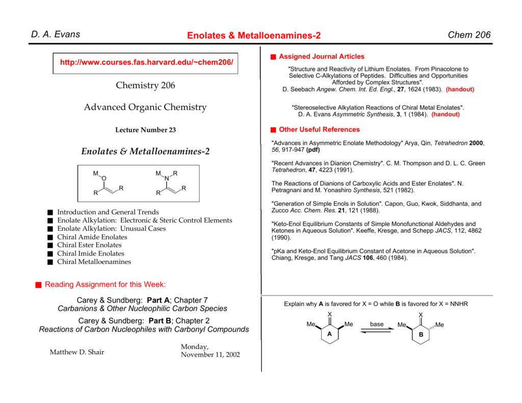 Chem 206 D  A  Evans Enolates & Metalloenamines