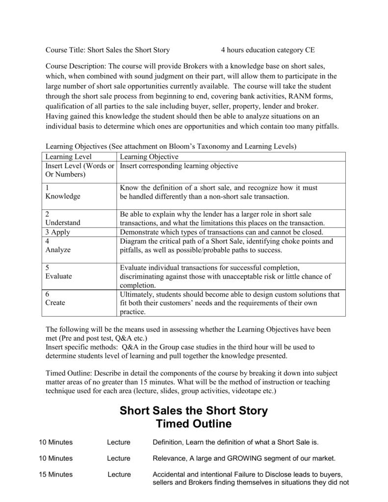 short sales the short story timed outline
