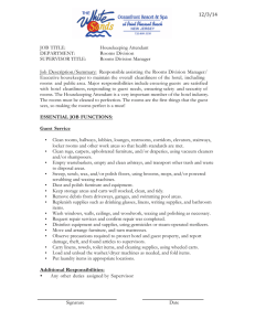 Housekeeping Attendant DEPARTMENT: Rooms Division