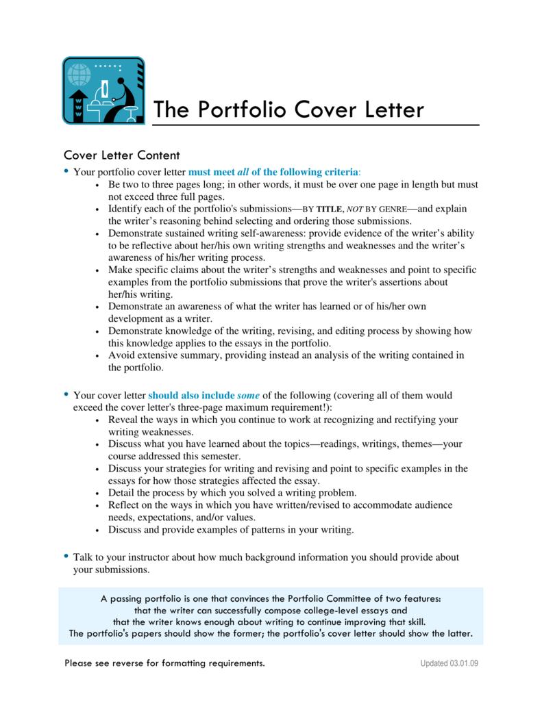 The Portfolio Cover Letter