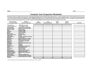 Computer Cost Comparison Worksheet