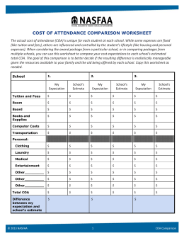 Cost of Attendance Comparison Worksheet