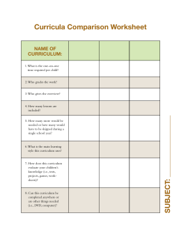 Curricula Comparison Worksheet
