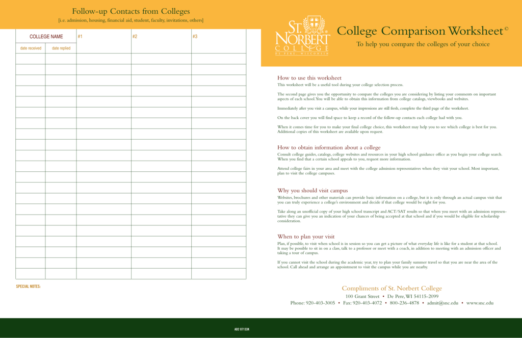 College Comparison Worksheet
