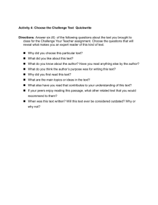 Activity 4: Choose the Challenge Text Quickwrite Directions: Answer