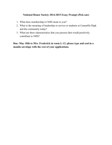 National Honor Society 20142015 Essay Prompt (Pick one) 1. What