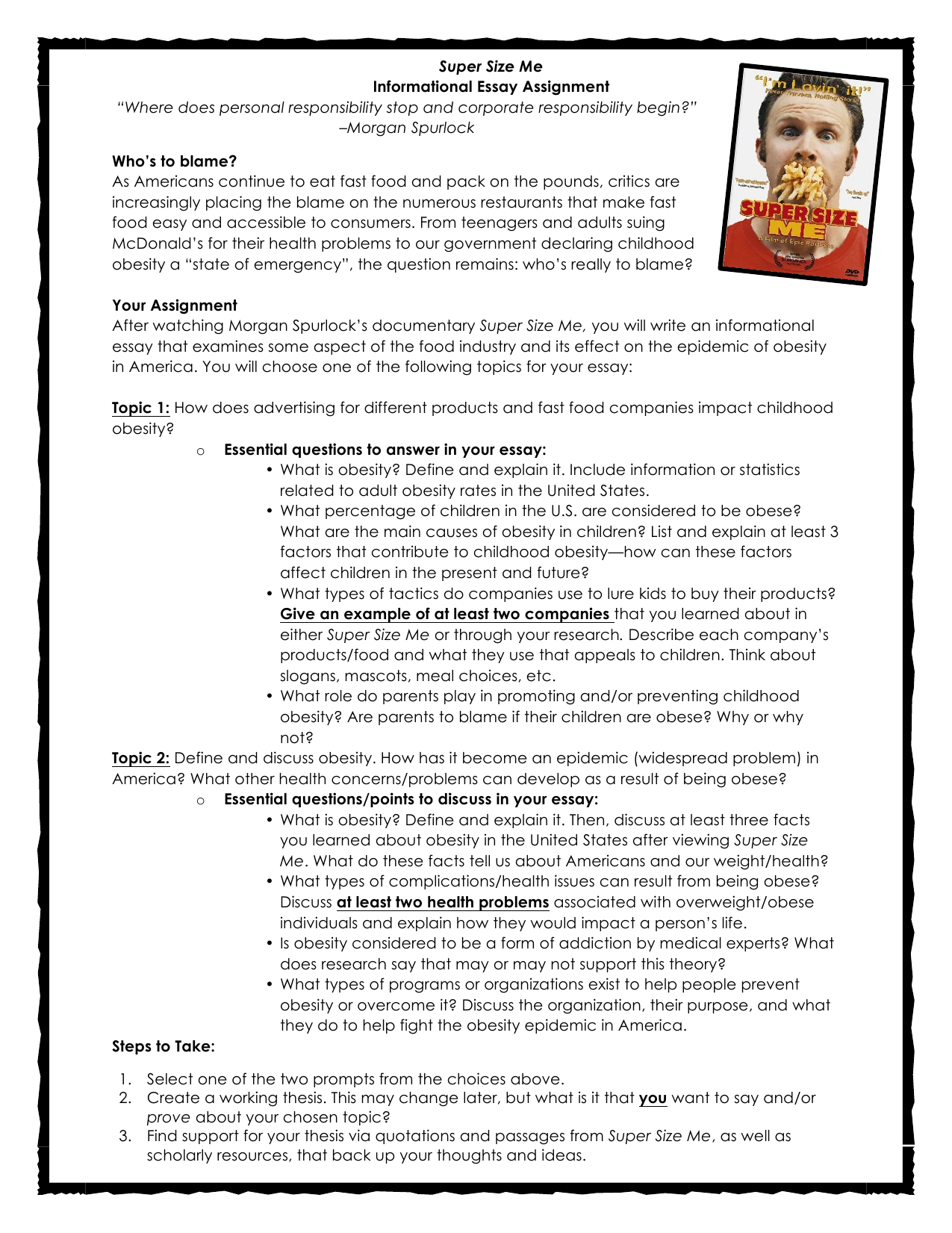 super size me informational essay assignment