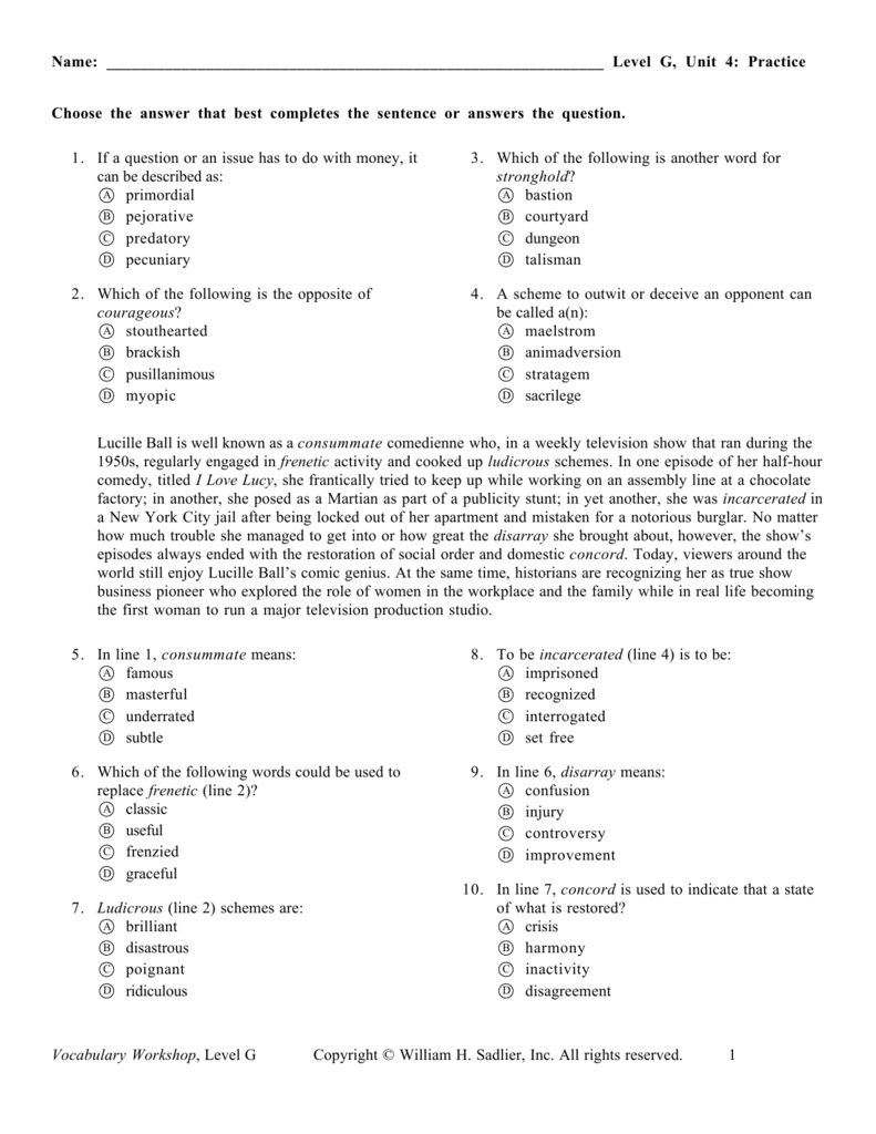 level g  unit 4  practice vocabulary workshop