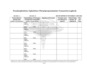 Ephedrine/ Phenylpropanolamine Transaction logbook
