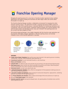 Franchise Opening Manager